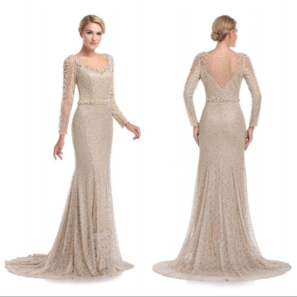 Romance Couture Dresses | Beaded Gold And Champagne Gown By Romance ...